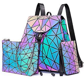 geometrisk lysende reflekterende ryggsekker sett, skulderveske, clutch bag