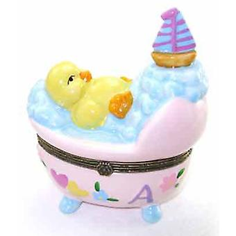 Little Yellow Baby Duck in Pink Bassinet Crib Bubbles Porcelain Trinket Box