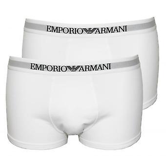 Emporio Armani 2-Pack Pure Cotton Boxer Trunks, White