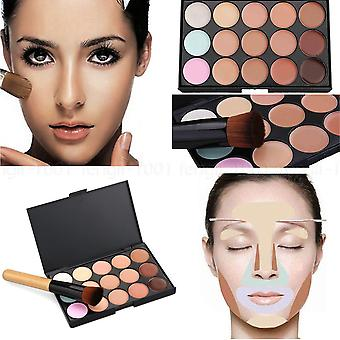 Boolavard 15 Colours Face Contour Makeup Camouflage Palette Cream Concealer Kit with Brush