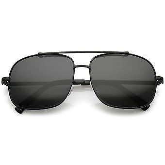 Okulary przeciwsłoneczne Aviator Classic Square prosto metalowa poprzeczka spolaryzowane soczewki 58mm