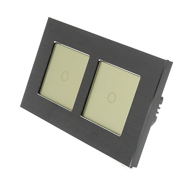 I LumoS Black Brushed Aluminium Double Frame 2 Gang 2 Way Touch Dimmer LED Light Switch Gold Insert
