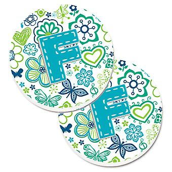 Letter F Flowers and Butterflies Teal Blue Set of 2 Cup Holder Car Coasters
