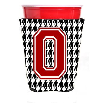 Monogram - Houndstooth  Initial  O Red Solo Cup Beverage Insulator Hugger