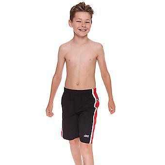 Zoggs Junior pojkens Muriwai simning Shorts svart/röd för barn 6-15 år