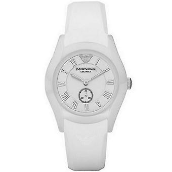 Emporio Armani Womens Ladies Ceramic Watch Silicone Cinturino quadrante bianco AR1433
