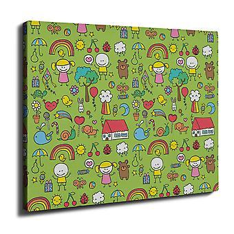 Cute Colorful Wall Art Canvas 40cm x 30cm | Wellcoda
