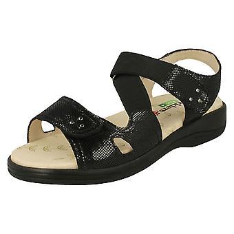 Ladies Padders Hook & Loop Fastening Sandals Cruise - Black Reptile Leather - UK Size 4 3E/4E - EU Size 37 - US Size 6