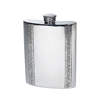 6Oz Vertical Celtic Bands Pewter Kidney Hip Flask