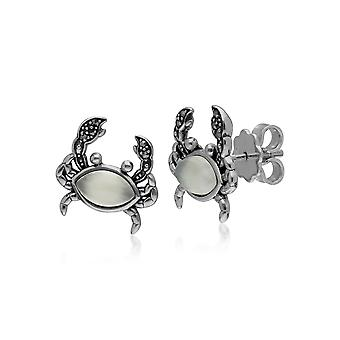 Classic Marquise Moonstone & Marcasite Crab Stud Earrings in 925 Sterling Silver 214E864002925