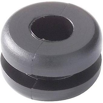 HellermannTyton HV1201-PVC-BK-N1 Kaapelin läpivientiLiitin Ø (maks.) 4 mm Levyn paksuus (maks.) 1,6 mm PVC Musta 1 kpl