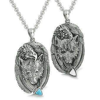 Amulette Paare Beste Freunde Wolf Adler Einheit Federn Türkis Katzen Auge Pfeilspitze Halsketten