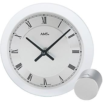 Table clock white quartz table clock in mineral glass dial black numerals AMS