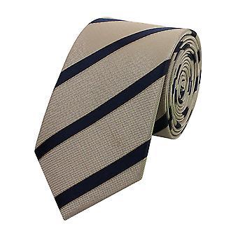 Gravata gravata gravata gravata estreita 6cm bege/cinza listrado Fabio Farini