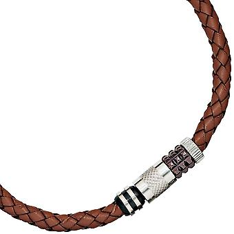 Leather necklace chain Leather Brown with stainless steel length 45 cm chain men's jewellery