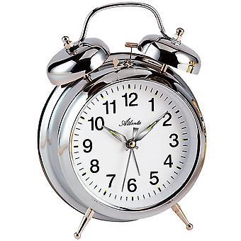 Atlanta 1060/19 mekanisk alarm klokke vækkeur twin Bell vækkeur sølv