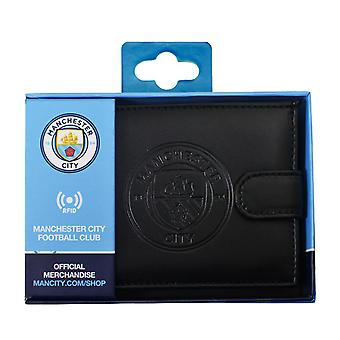 Manchester City FC Mens RFID Embossed Leather Wallet