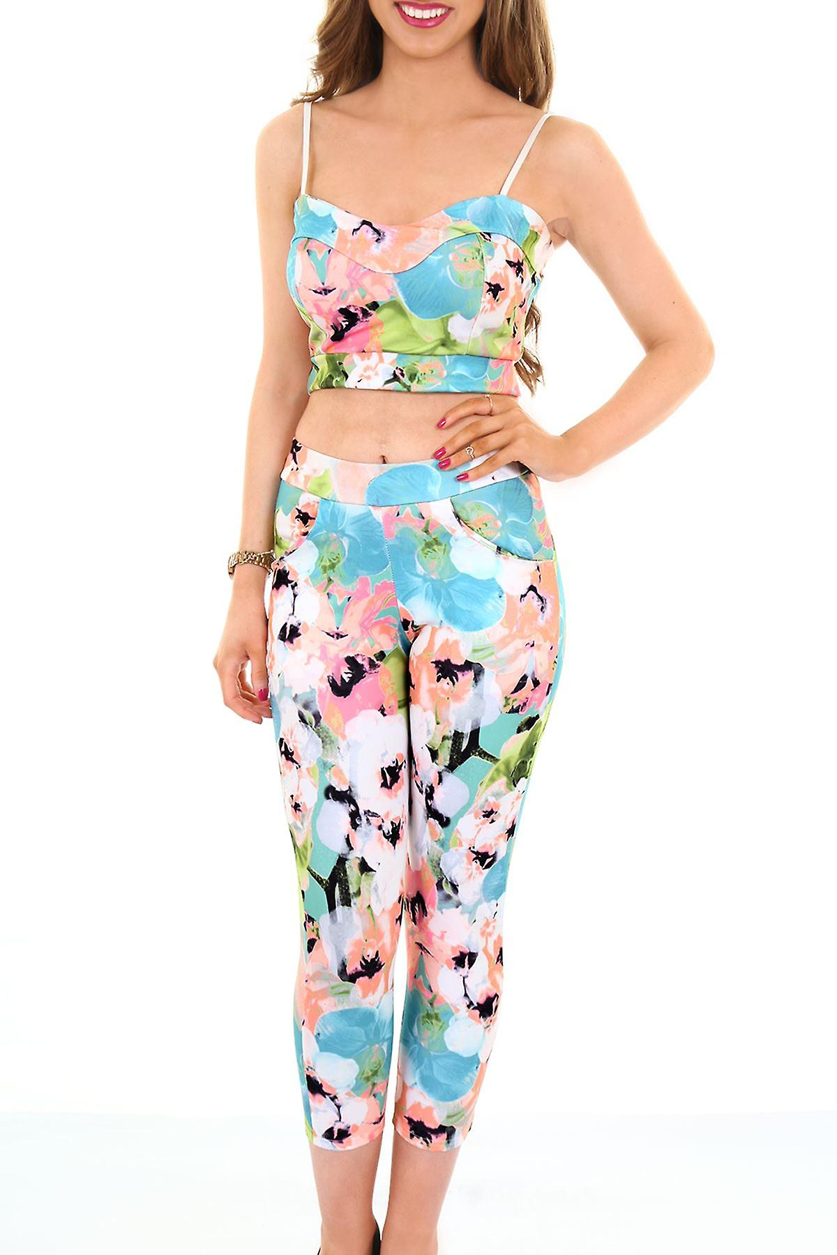 Ladies Neon Floral Flower Print Strappy Crop Top Womens 3/4 Party Leggings Set