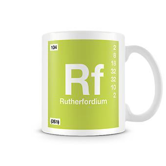 Videnskabelige trykt krus byder Element Symbol 104 Rf - Rutherfodium