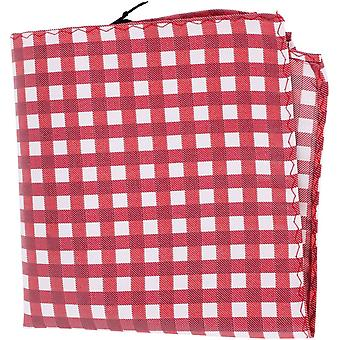 Knightsbridge Neckwear Checked Silk Pocket Square - Red/White