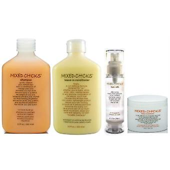 Mixed Chicks Quad Pack  (Shampoo,  Leave-in Conditioner, Deep Conditioner, Hair Silk)