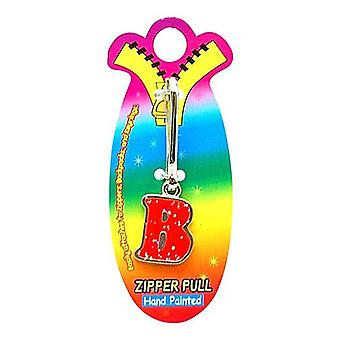 OOTB Initial B Red Hand Painted Base Metal 4.5 cm Glitter Zipper Puller