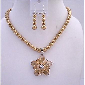 Gylden Tone halskæde sæt gyldne perler Topaz krystaller Flower vedhæng