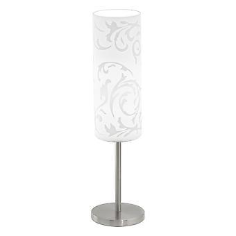 Eglo - Amadora 1 moderne lystabell lampe nikkel matt finish med hvit mønstret glass nyanser EG90051