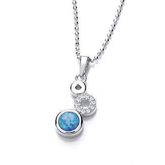 Cavendish French Silver, CZ and Blue Opalique Triple Circle Pendant with Silver Chain