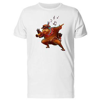 Owl drôle jouant trompette Tee homme-Image de Shutterstock