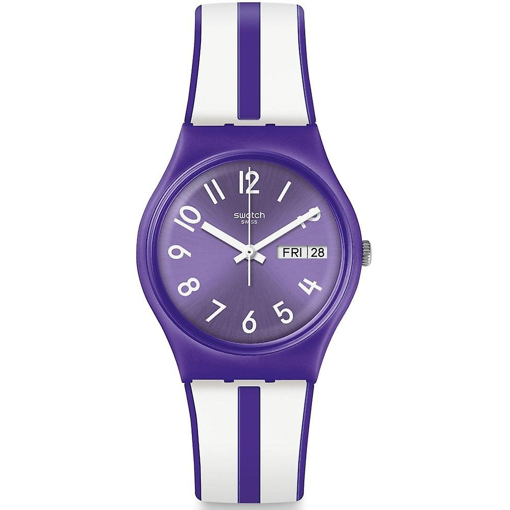 Swatch Gv701 Nuora Gelso Purple & White Stripe Silicone Watch