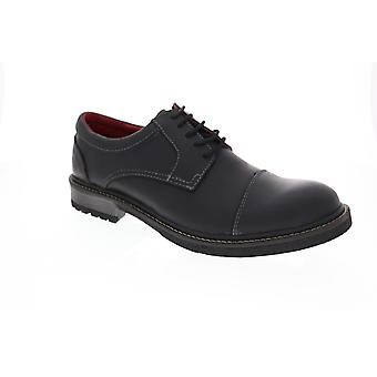 GBX Parker Cap Toe  Mens Black Leather Casual Lace Up Oxfords Shoes