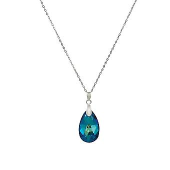 Eternal Collection Brilliance Bermuda Blue Austrian Peardrop Crystal Sterling Silver Pendant