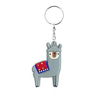 Grindstore Cute Grey Alpaca Rubber Keychain