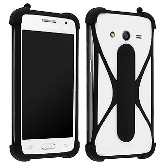 Universal smartphone cover Muvit Life. Soft silicone Stand function - Black