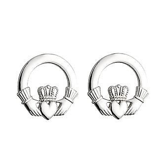 Sterling Silver Large Claddagh Earrings
