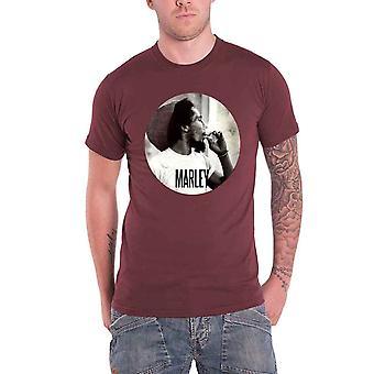 Bob Marley Mens T Shirt Maroon Smokin gezamenlijke cirkel logo ambtenaar