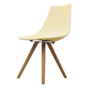 Fusion Living Iconic Vanilla Plastic Dining Chair With Light Wood Legs