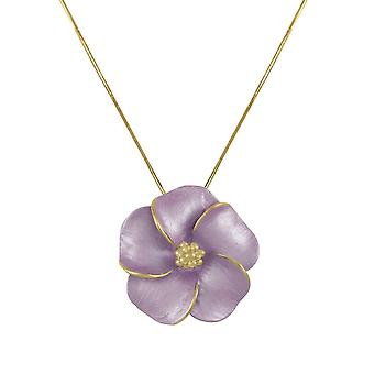Eternal Collection Pansy Lilac Enamel Flower Gold Tone Pendant Necklace