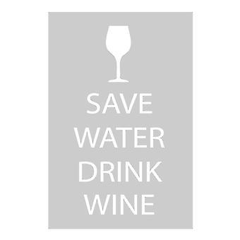 Save water drinken wijn grijs theedoek