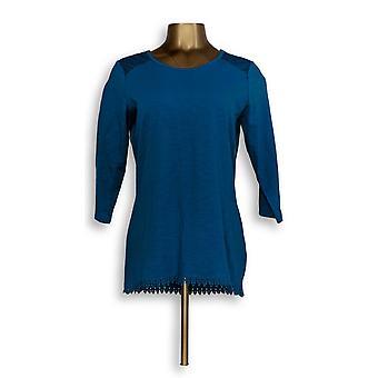 Denim & Co. Damen's Top Scoop-Neck Hi-Low Saum Blau A309310