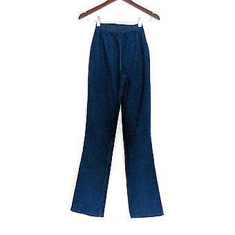 Denim & Co. leggings T2XS stræk høj støvle cut mørk indigo blå A01725