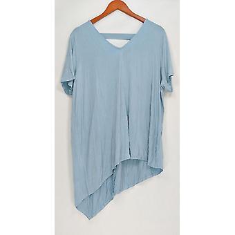 Lisa Rinna coleção mulheres ' s Top V-Neck w/chiffon back Blue A303168