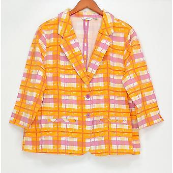 Liz Claiborne New York Women's Plus 3/4 Sleeve Plaid Print Pink A253240