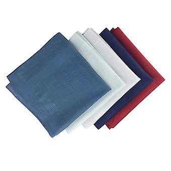 12 Pack Mens/Gentlemens Dyed Handkerchiefs With Satin Stripe Borders, 100% Cotton Assorted Colours