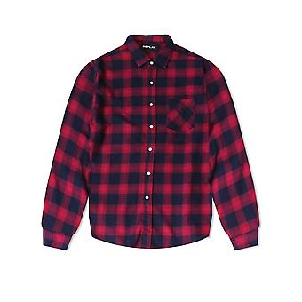 Replay Jeans replay mens check shirt rood/zwart