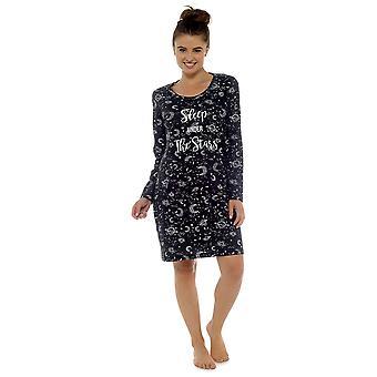 Dames 100% Cotton Star Gazer Print Nightdress Nighty Sleepwear