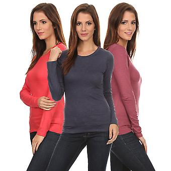 3 Pack Women's Long Sleeve Shirt Crew Neck Slim Fit: BERRY/CORAL/NAVY