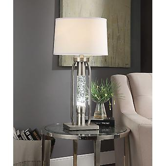 Contemporary Metal Table Lamp with Fabric Drum Shade and LED Glass Cylinder, Silver and White