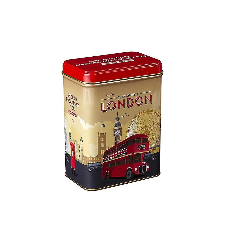 Retro london travel english breakfast tea tin 40 teabags